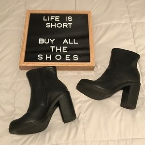 Black Chunky Ankle Boot Heels